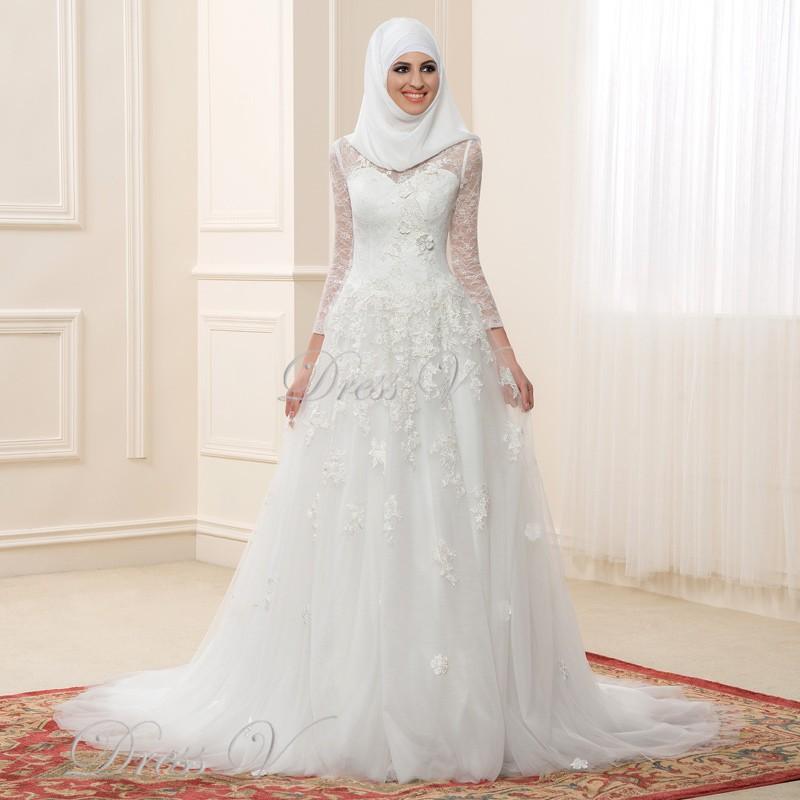 Islamic Wedding Gown: 2017 Muslim Wedding Dresses Lace Long Sleeves High Neck