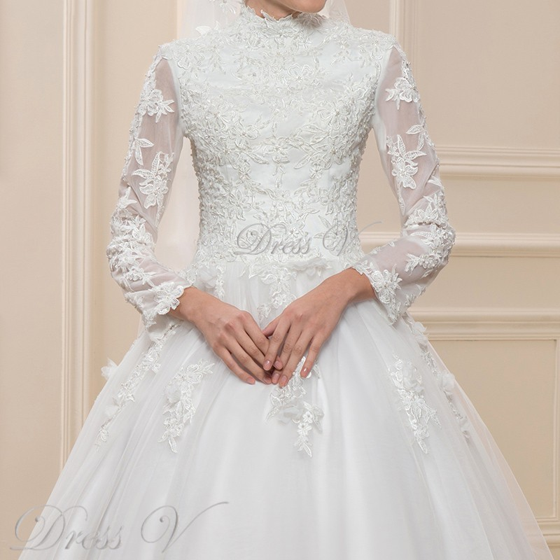 Muslim Lace Ball Gown Wedding Dresses Long Sleeves High Neck