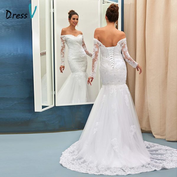 Mermaid wedding dress ivory sexy off the shoulder long sleeves ...