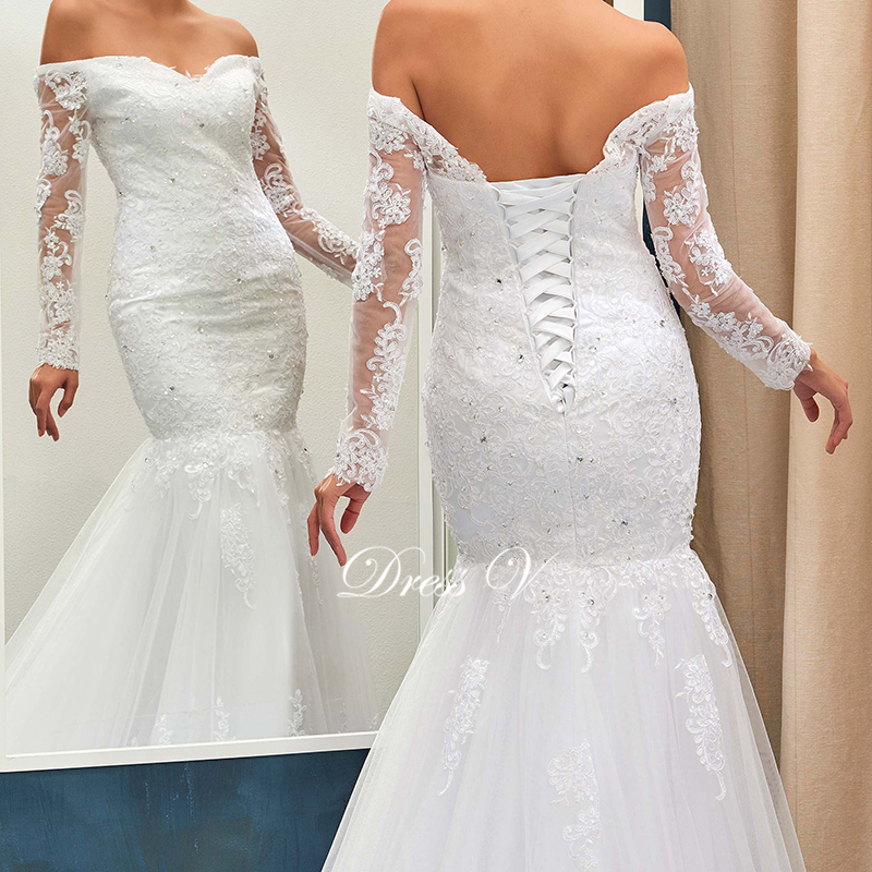 Mermaid Wedding Dress Ivory Sexy Off The Shoulder Long Sleeves Appliques Lace  Up Bridal Gown Court Train Wedding Dresses