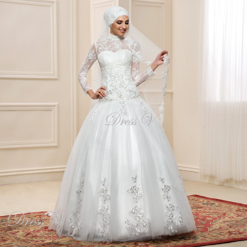 Long Sleeve Muslim Turtleneck Wedding Dresses Ball Gown 2017 Hijab ...