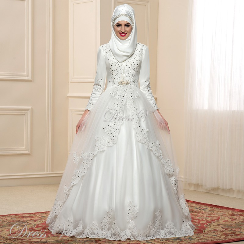 2017 Luxury Long Sleeves Muslim Wedding Dresses Hijab High Neck ...